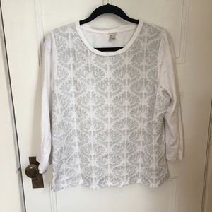 J. Crew embroidered 3/4 sleeve tee size XL